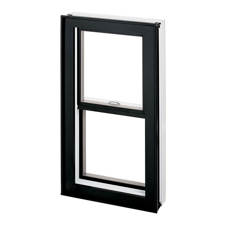Fenêtre guillotine hybride, double combo aluminium PVC