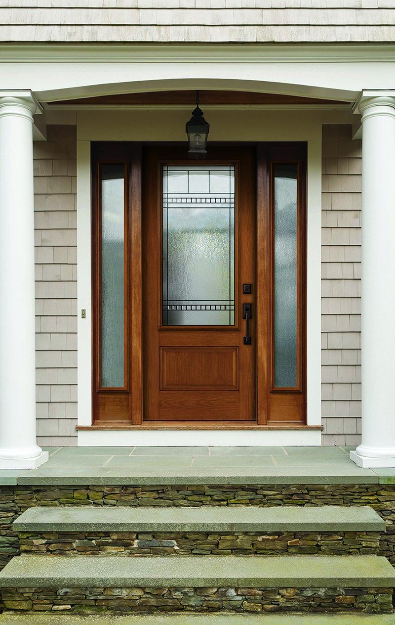 Porte en fibre de verre - fini bois et avec vitre intégrée